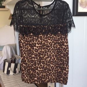 Ann Taylor mixed media blouse